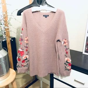 AEO embroidered long sleeve sweater